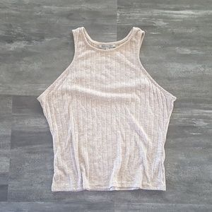 Nude Ribbed Russe High Neck Crop